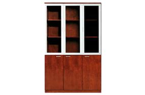 铝框玻璃三门油漆文件柜