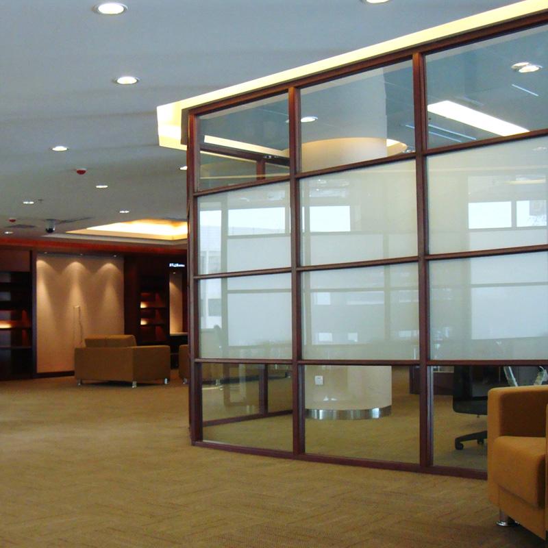 办公室隔断|双层百叶玻璃隔断|铝合金隔断墙